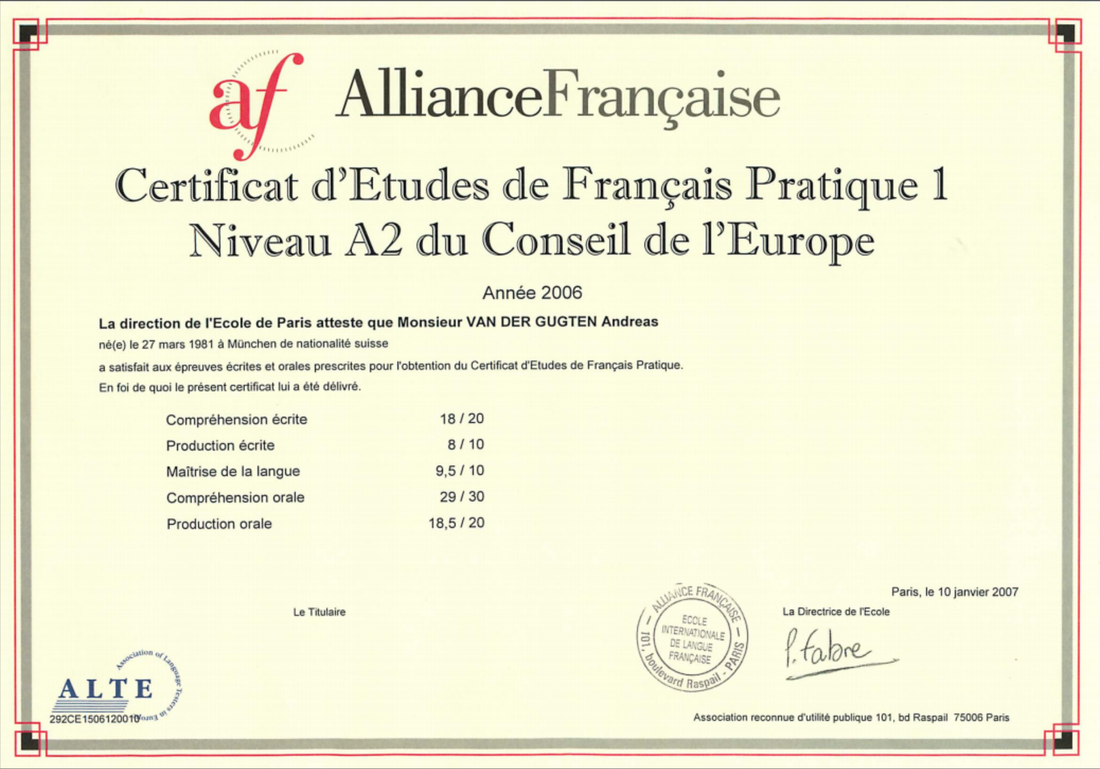 AllianceFrancaise Certificate